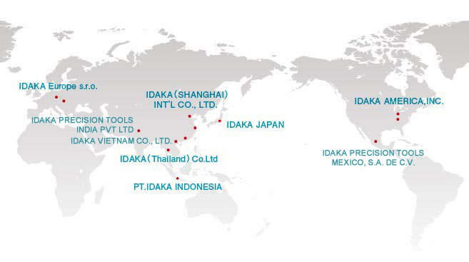 Domestic & overseas bases of IDAKA & CO., LTD., a trading company dealing in machines and tools.